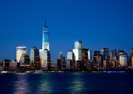Photo for The new Freedom Tower and Lower Manhattan Skyline At Night - Royalty Free Image