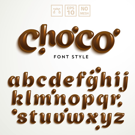 Vector latin alphabet made of chocolate. Liquid font style.