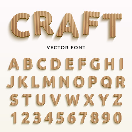 Illustration pour Vector cardboard letters. Realistic paper style font. Typaface made of old brown boxes. Latin alphabet and numbers from A to Z and from 1 to 0. - image libre de droit