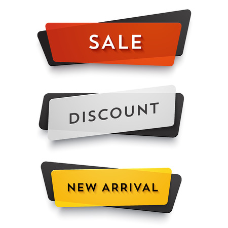 Illustration for Ecommerce vector banner set. Nice plastic cards in material design style. Transparent black, white, red and yellow paper. - Royalty Free Image