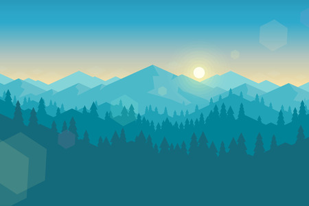 Illustration pour Vector mountains and forest landscape early in the morning. Beautiful geometric illustration. - image libre de droit