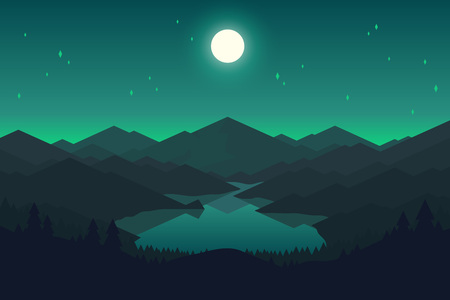 Illustration pour Vector mountains and forest landscape in the night. Beautiful geometric illustration. - image libre de droit