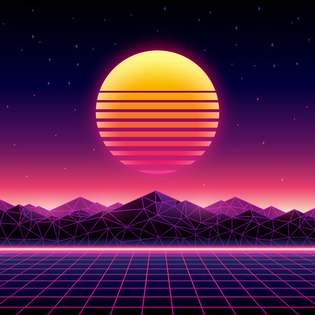 Illustration pour Retro futuristic background 1980s style. Digital landscape in a cyber world. Retrowave music album cover template with sun, space, mountains and laser grid on terrain. - image libre de droit