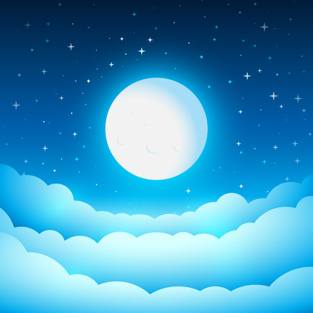 Ilustración de Full moon in the night sky. Fairy Tale cover or background. Bright moonlight above the clouds. Vector dreamy illustration. - Imagen libre de derechos