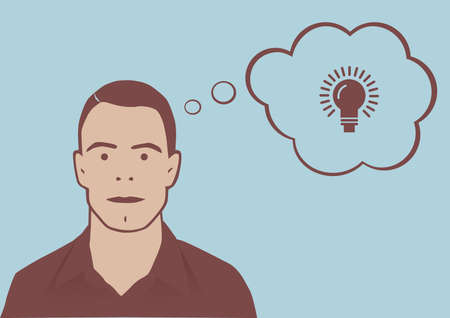Ideas man – Retro style vector illustration of man with thought bubble