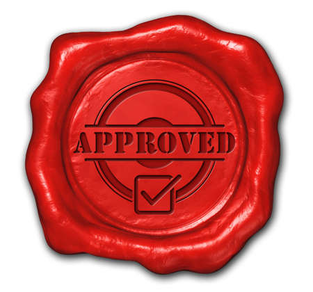 3d rendered of  wax seal approved