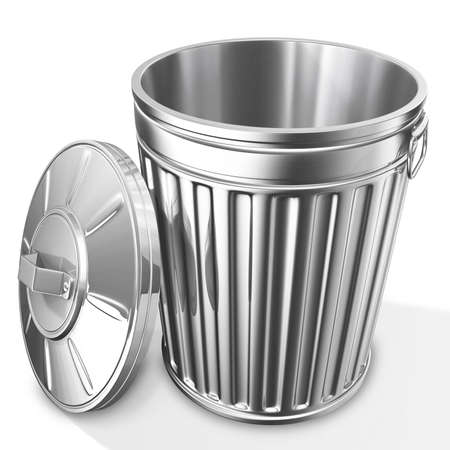 3D rendered of empty trash can on white background with shadow