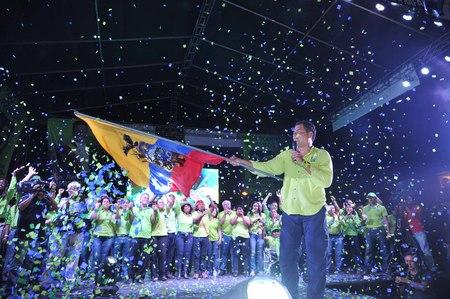Quito, Ecuador. April 2, 2017. Lenin Moreno gives a speech during a political rally