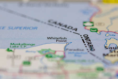 Photo pour 05-14-2021 Portsmouth, Hampshire, UK, Whitefish Point Michigan USA shown on a Geography map or road map - image libre de droit