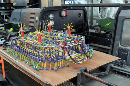 Lee-on-the-Solent, Hampshire, UK - June 10 2017: K-NEX model of an SR.N4 Hovercraft at the Hovercraft Museum in England