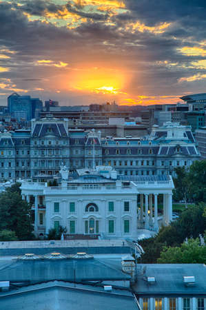 September 12, 2017, Washington, DC, USA: The US Treasury  building, White House, and Eisenhower Executive Office building at sunset as seen from the roof top of a near by building.