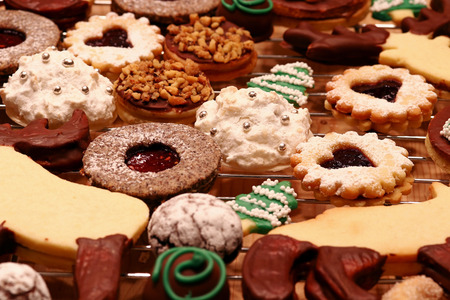 Christmas bakery. Various colorful cookies and biscuits for Christmas