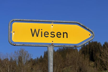 Traffic sign meadows. Here it goes in the direction of Wiesen