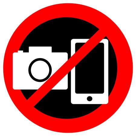 Illustration pour No camera and mobile symbol on white background. - image libre de droit