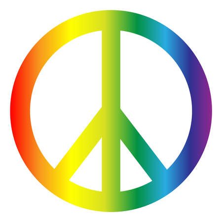 Photo pour Peace symbol in rainbow colors isolated on white background. - image libre de droit