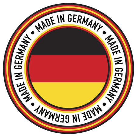 A Made in Germany rubber-stamp like circular decal.