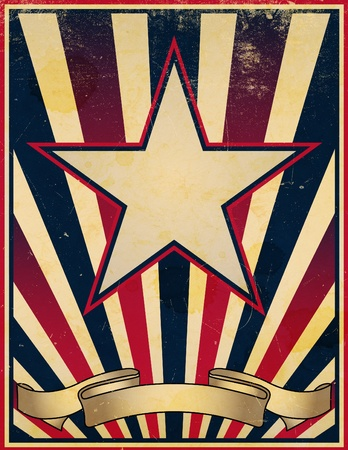 A damaged, worn and faded stars and stripes themed vintage retro poster background.