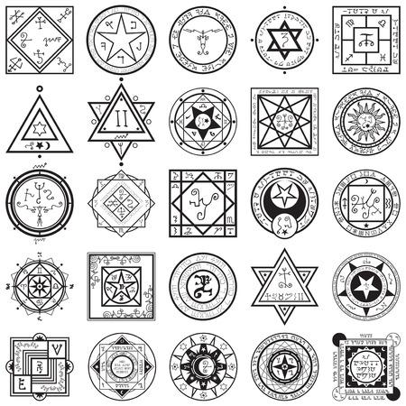 Illustration pour A vectors collection set of 25 unique magic and alchemy sigils and seals illustrations. - image libre de droit