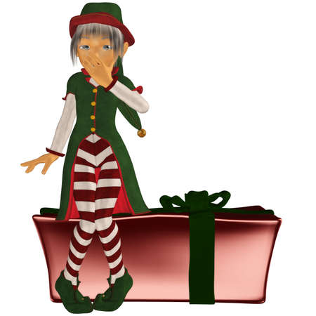 a Christmas elf sitting on a gift - isolated on white