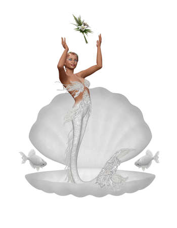 a mermaid throw the bridal bouquet - isolated on white