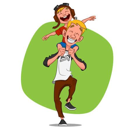 Illustration pour Dad playing with his son. Vector illustration. - image libre de droit