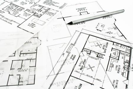 Foto de House plan blueprints with drawing pencil - Imagen libre de derechos