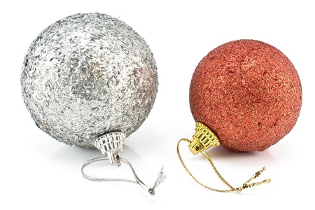 Two christmas baubles isolated on white