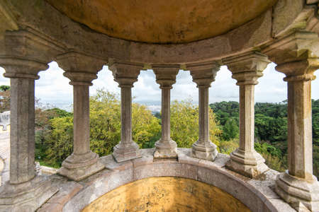 stone pillars of Pena National Palace, Portugal, Sintra