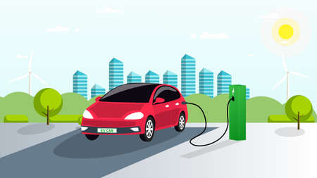 Illustration pour The electric car is charged in the parking lot from renewable energy sources. Green charging station for the vehicle. Smart city, green trees and bushes in the background. Vector. EPS - image libre de droit