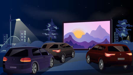 Illustration pour Open air cinema for street car. Cars watch a movie in an open parking lot at night. On the screen the sunrise from behind the mountains. Urban entertainment and film festival. Vector. Illustration - image libre de droit