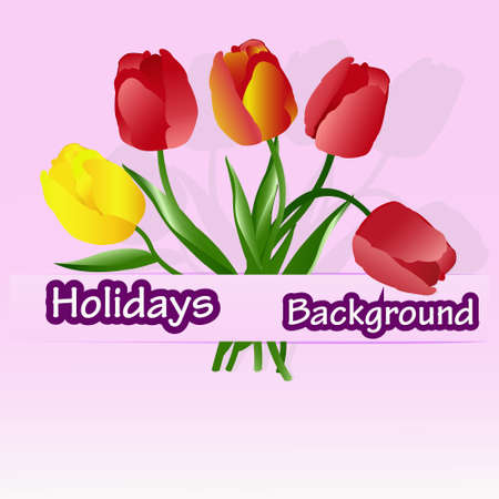 Celebratory bouquet of  beautiful tulips on a abstract pink background