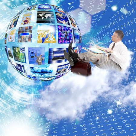 Businessman on the cloud Internet concept