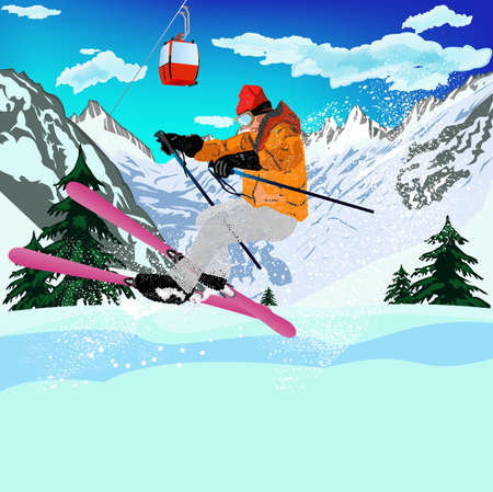 Freestyle Skiing Mountain skiing Extreme Skiing Winter Sport Vector