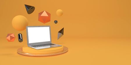 Photo for Minimal mock up composition with laptop and geometry figures on podium 3d render - Royalty Free Image