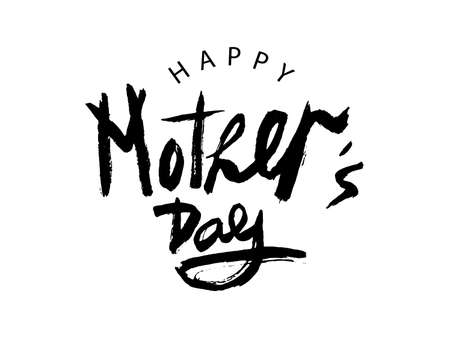 Illustration pour Vector Handwritten lettering Happy Mother's Day on white background. Black modern naive inscription for design, background, card, print, sticker, banner. Happy Mother s Day Calligraphy greeting card. - image libre de droit