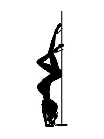 Illustration pour Vector silhouette pole dance on a white background - image libre de droit