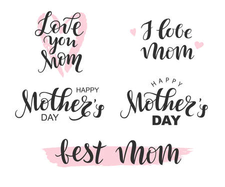 Illustration pour Vector Handwritten lettering black Happy Mothers Day, I love Mom, Best Mom on white background - image libre de droit