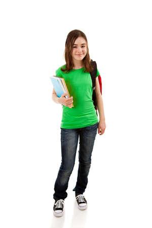 Girl holding books on white background