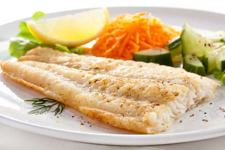 Pan fried fish fillet with vegetables