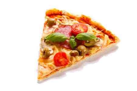 Pepperoni pizza slice on white background