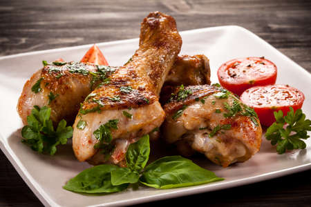 Grilled chicken legs and vegetables