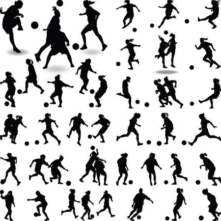 Illustration pour A big group of women soccer player isolated silhouette vector - image libre de droit