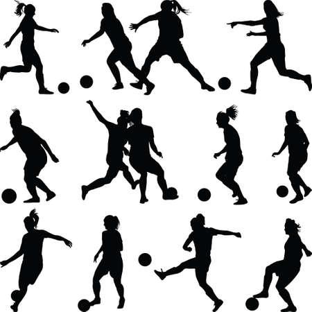 Illustration pour soccer women silhouette. girl player - image libre de droit