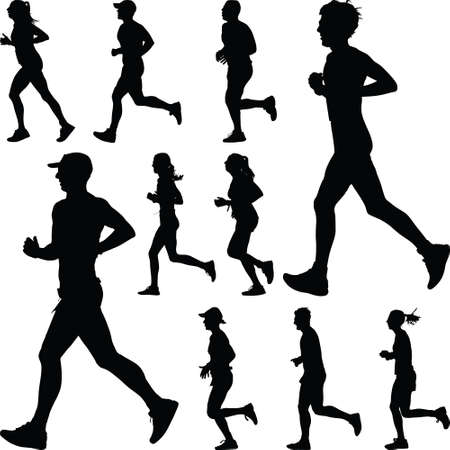 Illustration for group of runners - Royalty Free Image