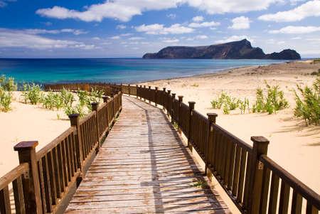 Wooden footbridge leading to the beach on the Madeira islands, Porto Santo
