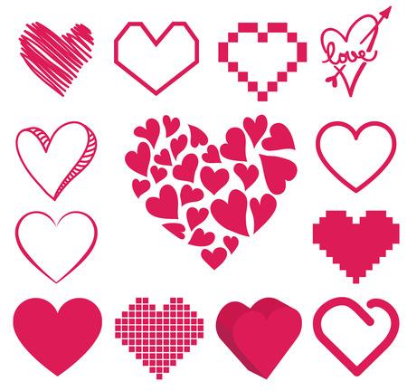 set of heart vector