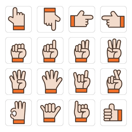 icon hand set vector