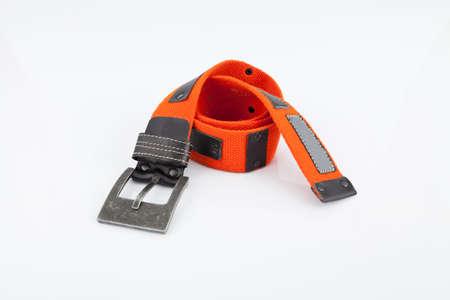 Orange belt for man on white background.