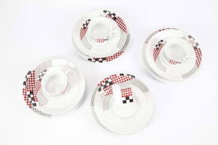 Foto de White modern dishes with geometric shapes - Imagen libre de derechos