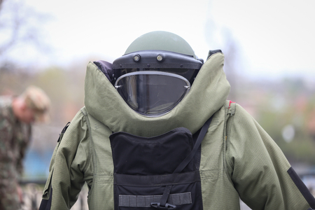 Photo for Details of a EOD (Explosive Ordnance Disposal) military protective costume - Royalty Free Image